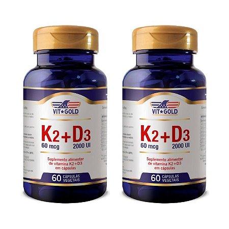 Kit Vitaminas K2 + D3 VitGold Menaquinona 7 120 Cápsulas