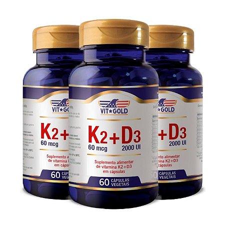 Vitaminas K2 + D3 - 3 unidades de 60 Cápsulas - VitGold
