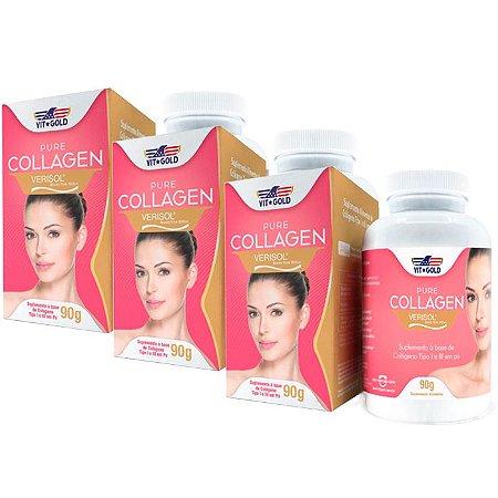 Pure Collagen Verisol em Pó - 3 unidades de 90 Gramas - VitGold
