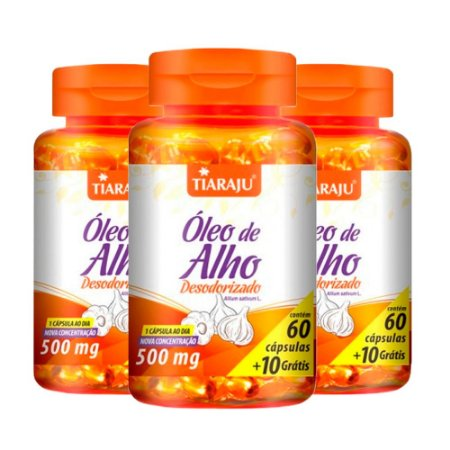 Óleo de Alho Desodorizado - 3 unidades de 60 cápsulas - Tiaraju