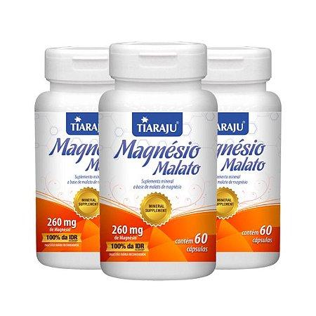 Kit Magnésio Malato Tiaraju Ácido Málico Vitam B1 180 Cáps