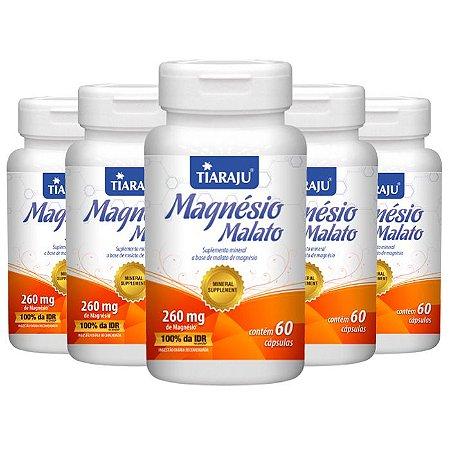 Magnésio Malato - 5 unidades de 60 Cápsulas - Tiaraju