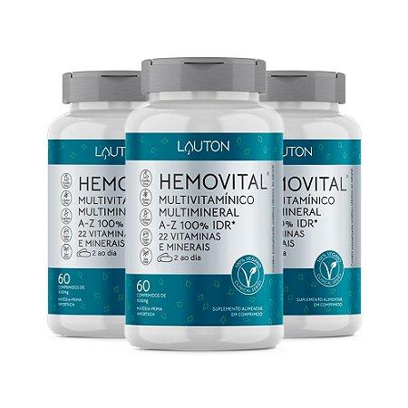 Multivitamínico Hemovital - 3 unidades de 60 Comprimidos - Lauton