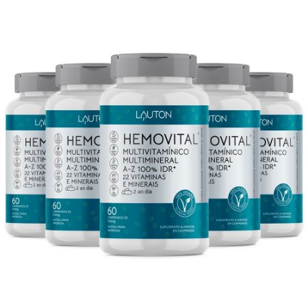 Multivitamínico Hemovital - 5 unidades de 60 Comprimidos - Lauton