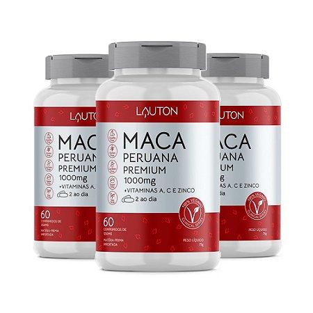 Maca Peruana Premium com Vitaminas - 3 unidades de 60 Cápsulas - Lauton