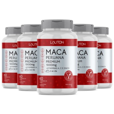 Maca Peruana Premium com Vitaminas - 5 un de 60 Cápsulas - Lauton