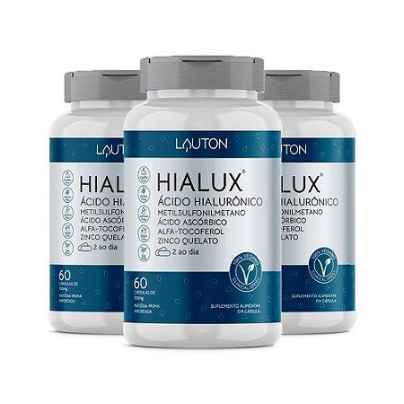 Hialux Ácido Hialurônico - 3 unidades de 60 Cápsulas - Lauton