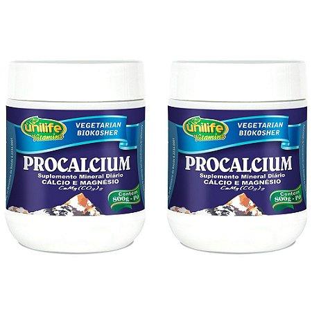 Procalcium (Cálcio e Magnésio) em pó - 2 un de 800 Gramas - Unilife