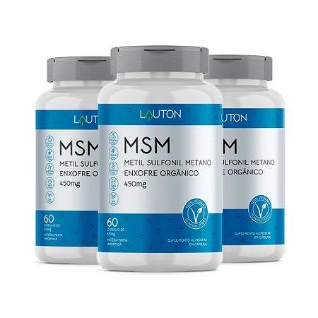 Kit MSM Enxofre Orgânico Lauton Anti-inflamatório 180 Cáps