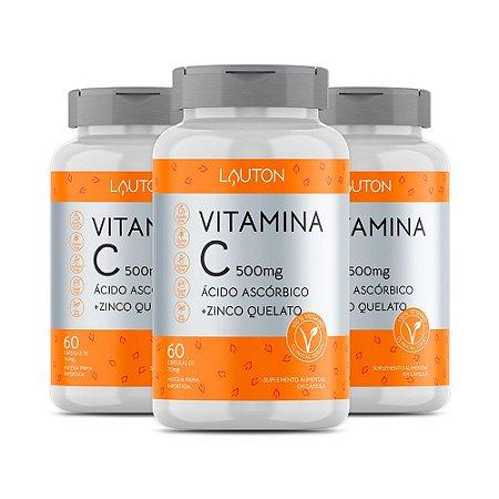 Vitamina C com Zinco - 3 unidades de 60 Cápsulas - Lauton