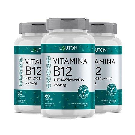 Vitamina B12 Metilcobalamina - 3 unidades de 60 Cápsulas - Lauton
