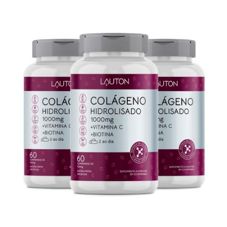 Kit Colágeno Hidrolisado Vitamina C Biotina Lauton 180 Comp