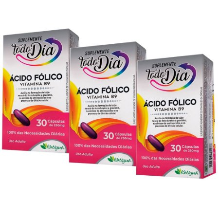 Kit Vitamina B9 Ácido Fólico Katiguá STD Suplemento 90 Cáps