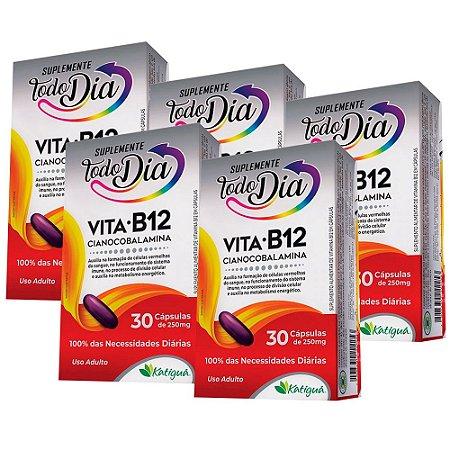 Vitamina B12 Cianocobalamina - 5 unidades de 30 Cápsulas - Katiguá