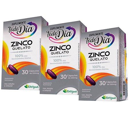 Zinco Quelato - 3 unidades de 30 Cápsulas - Katiguá
