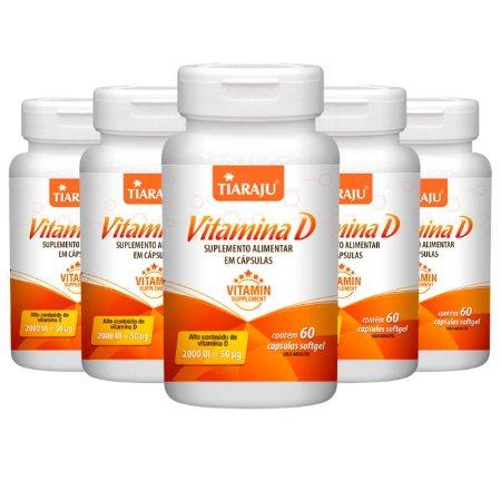 Vitamina D 2000 UI - 5 unidades de 60 Cápsulas - Tiaraju