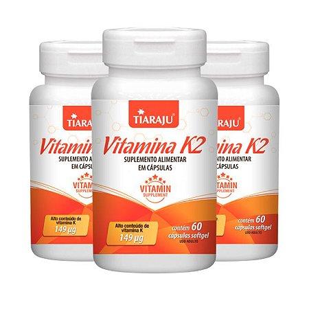 Vitamina K2 Menaquinona - 3 unidades de 60 Cápsulas - Tiaraju
