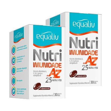Kit Nutri Imunidade A-Z Equaliv Polivitam Mineral 30 Cáps