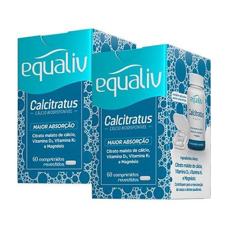 Calcitratus Cálcio e Magnésio com Vitaminas K2 + D3 - 2 unidades de 60 Comprimidos - Equaliv