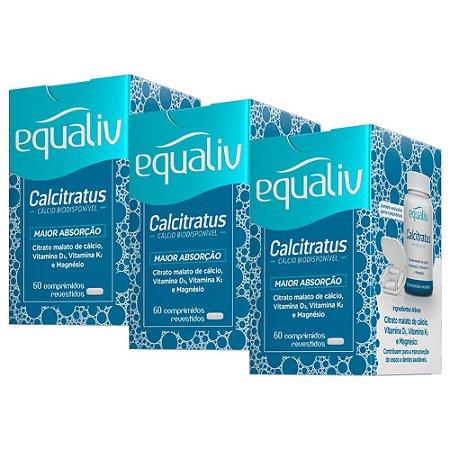 Calcitratus Cálcio e Magnésio com Vitaminas K2 + D3 - 3 unidades de 60 Comprimidos - Equaliv