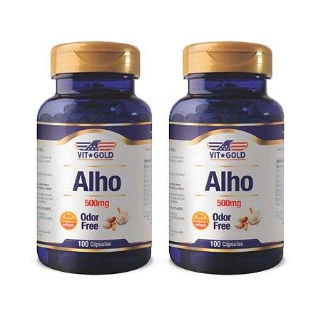 Óleo de Alho Odor Free 500mg - 2 unidades de 100 Cápsulas - VitGold