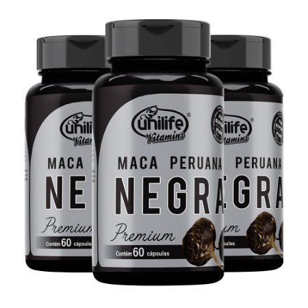 Kit Maca Peruana Negra Premium Unilife Suplemento 180 Cáps