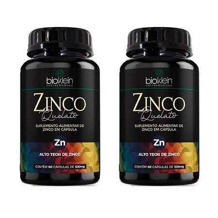 Kit Zinco Quelato Bioklein Concentrado Zn 500mg 120 Cápsulas