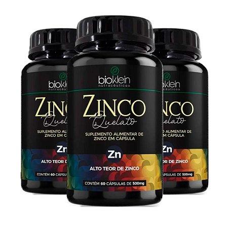 Kit Zinco Quelato Bioklein Concentrado Zn 500mg 180 Cápsulas