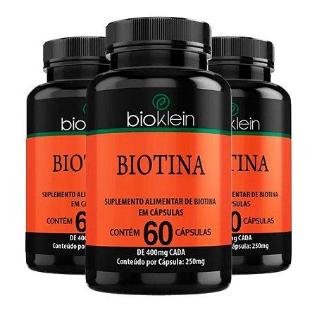 Kit Biotina Vitamina b7 Bioklein 250mg 180 Cápsulas
