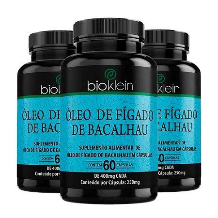 Óleo de Fígado de Bacalhau - 3 unidades de 60 Cápsulas - Bioklein
