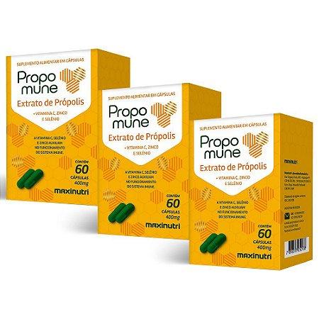 Propomune Extrato de Própolis - 3 unidades de 60 Cápsulas - Maxinutri