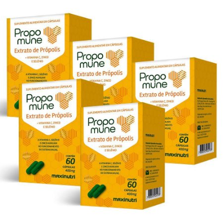 Propomune Extrato de Própolis - 5 unidades de 60 Cápsulas - Maxinutri