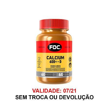 Cálcio Com Vitamina D FDC 600mg 60 Comprimidos