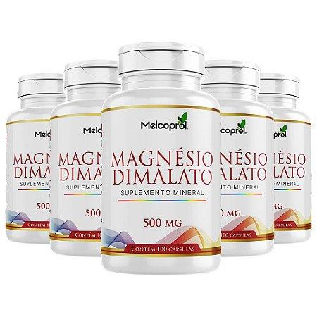 Kit Magnésio Dimalato Melcoprol Suplemento Vitam D 500 Cáps