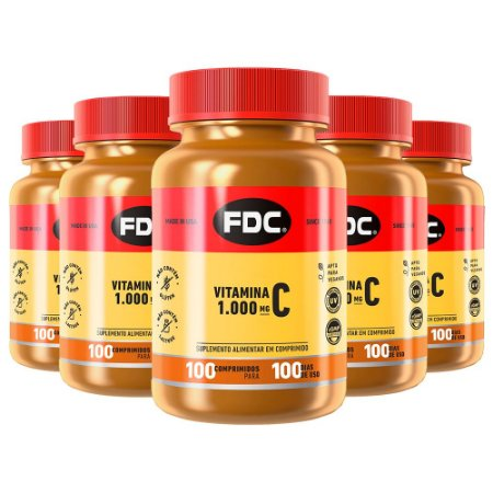 Kit Vitamina C 1000mg FDC Suplemento Antioxidante 500 Comp