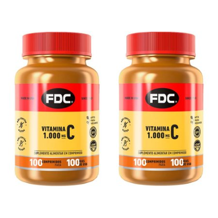 Vitamina C 1000mg - 2 unidades de 100 Comprimidos - FDC