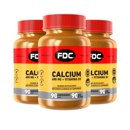 Calcium 600mg + Vitamina D3 - 3 unidades de 90 Comprimidos - FDC
