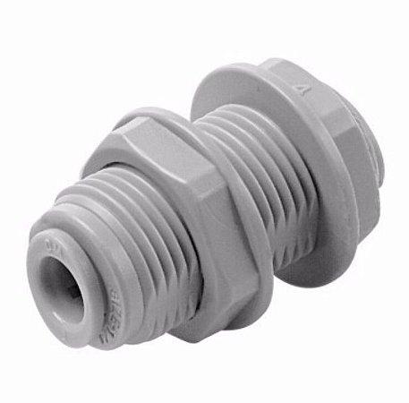 """ABU0606 - Conexão rápida união anteparo tubo 3/8"""" X tubo 3/8"""""""