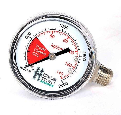 Manômetro de Alta para Reguladoras de CO2 Chope