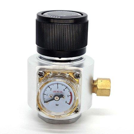 """Mini Reguladora Profissional de CO2 para cilindros de 16/32G c/ rosca 3/8""""-24UNF"""