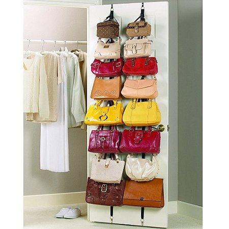 Cabide Organizador de Bolsas Bag Rack® Sistema Suspenso Kit c/02 Cintas de Porta cada c/08 Ganchos