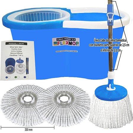 Mop Spin 360 Padrão USA Linha Hobby 2.0 Único c/Cabo25mm, Refil120gr Absorção 1lt Marca Flexmop® Nº1