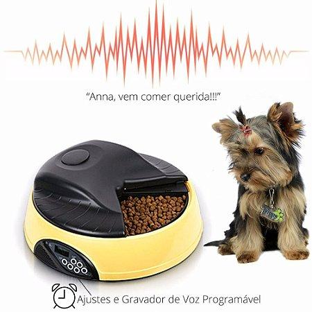 Alimentador Automático Pet c/Gravador de Voz + Diversos Ajustes + Suporte Extra de Água Pet Feeder®