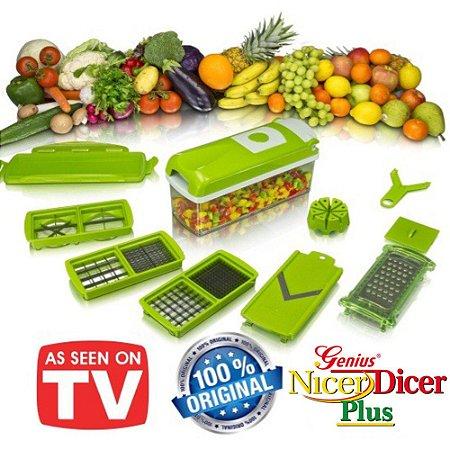 Kit Cortadores e Fatiadores de Legumes c/Lâminas 100% Inox Original Marca: Genius Nicer Dicer Plus®