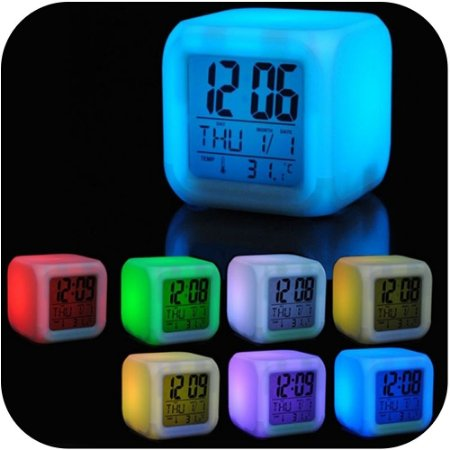 Despertador Digital Cubo Led 7cores Colorido na Shoppstore Color Change®