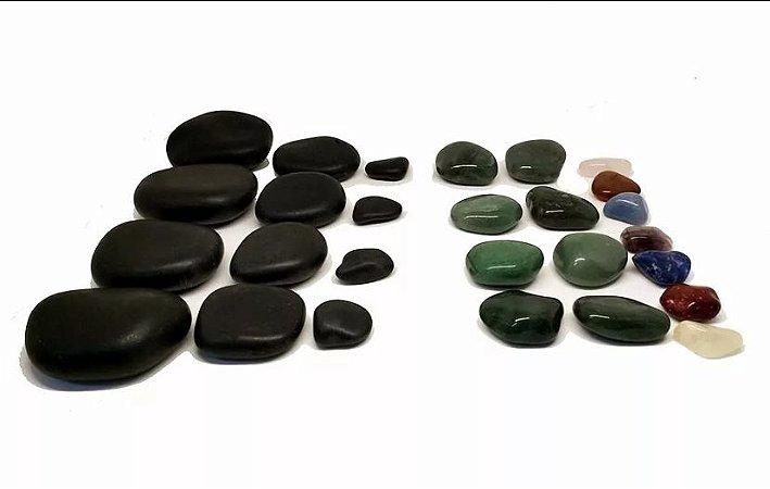 Kit 30 Pedras Quentes Terapêuticas Vulcânicas + Quartzo Cristais na Shoppstore®