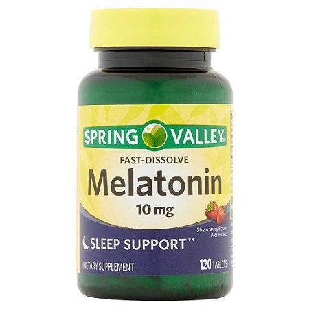 Mellatonina 10 mg Fast Dissolve Morango 120 un Spring Valley®