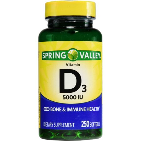Vitamina D3 5000 IU 125 mcg 250 Softgels Import USA Spring Valley®