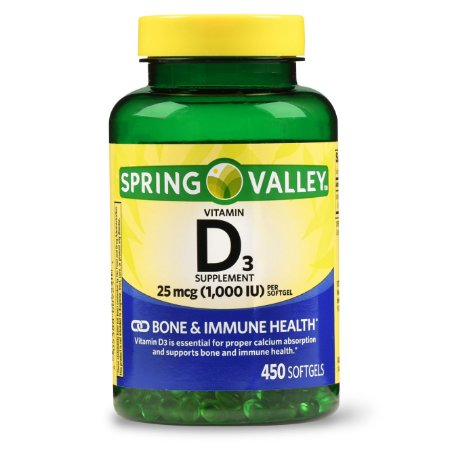 Vitamina D3 1000 IU 25 mcg 450 Softgels Import USA Spring Valley®