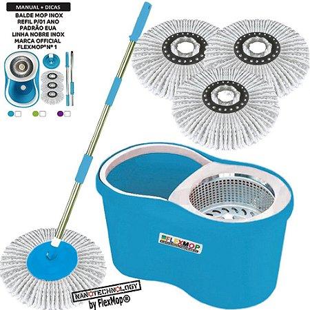 Balde Mop Inox Promo Refil Nano p/01Ano(1+2=3un)Marca Flexmop®Nº1